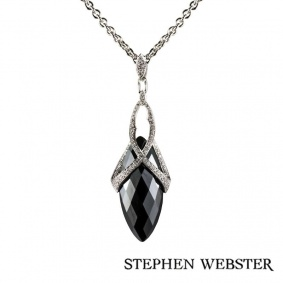 Stephen Webster 18k White Gold Hematite and Diamond Set Jewelvine Pendant